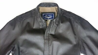 Air Force Airborne Men Large Leather Jacket Military Bomber Pilots Motorcycle L
