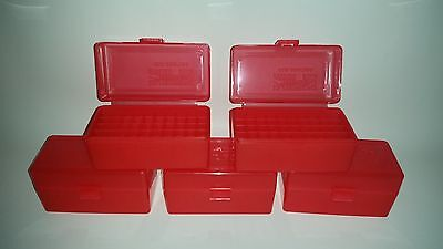 BERRY'S PLASTIC AMMO BOXES (5) RED 50 ROUND 223 / 5.56 - FREE SHIPPING