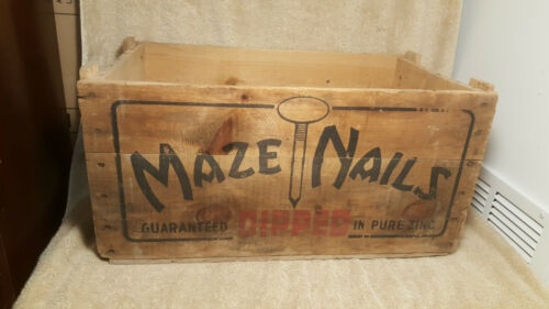 Antique MAZE Nails WOOD CRATE Wooden BOX Zinclad Advertising sign VTG