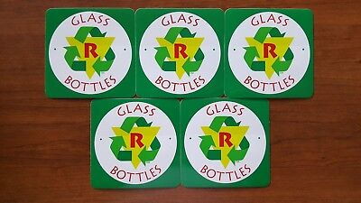 """5x Recycle Glass Bottles emblem stickers decals CRV Recycling Trash 3.75"""" x 3.75"""