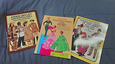 Lot of 3 Tom Tierney paper dolls Annie Oakley fifties fashions 1890 s family new