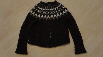 Braune Strickjacke Pullover (Norweger-Lopapeysa-Strick-Jacke-Pullover,Gr.S/M,braun,weiss,100% Wolle)