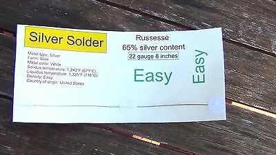 New Sterling Silver Jewelry Solder wire  8 inch 22 of gauge Easy Melt 1325 °