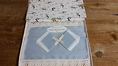 Vintage Blue Dressing Table Set One Rectangular & Two Square French Macrame Lace