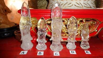 Hand Carved ,Natural Quartz Crystal Kuan Yin Statues Holden Hill Tea Tree Gully Area Preview