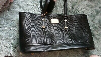 Versace tote womens handbag Black ribbed bucket