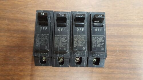 Lot of 4 General Electric GE Circuit Breakers 20A THQL1120 15A THQL1115