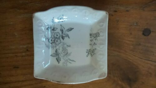 Antique Transferware BUTTER PAT, Square, Black Floral