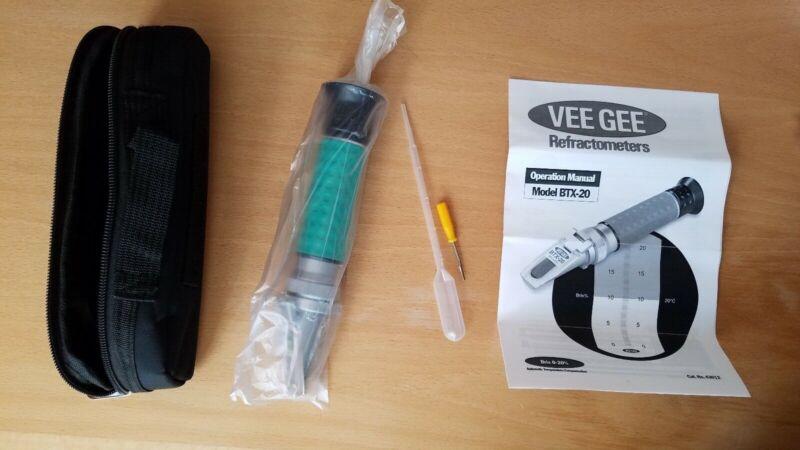 Vee Gee Scientific BTX-20 Handheld Refractometer, with Brix Scale, 0-20%, 0.10%