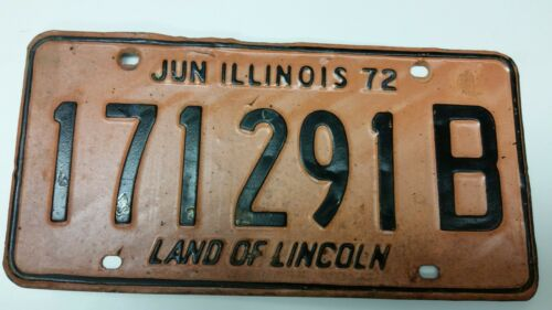 1972 ILLINOIS License Plate 171291B