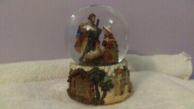 Snowglobe Nativity Scene Bethlehem carved around base Musical EX576