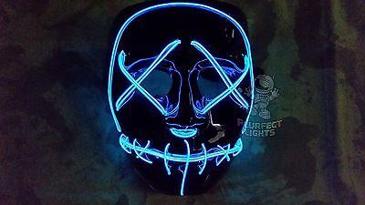 Light Up BLUE PURGE LED Festival Rave Party EDC Halloween Costume Handmade Mask! - Edc Halloween Costumes