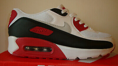 MENS WHITE BLACK DARK RED NIKE AIR MAX 90 CASUAL TRAINER SHOE UK 6 7 8 9 11 BNIB