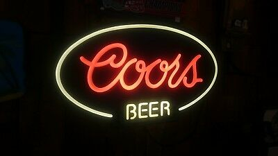 Vintage Coors Beer Bottle Neo Neon Light Electric Up Sign Golden CO
