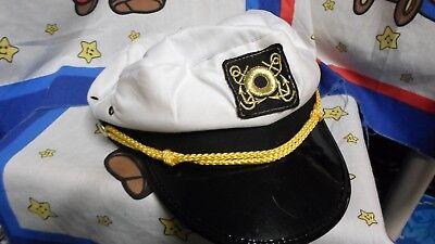 White Sailor Boat Captains Hat Cap - Skipper Gilligan Halloween Costume ](Gilligan Halloween Costume)