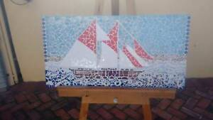 Mosaic of sailing ship Glenelg Holdfast Bay Preview