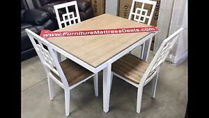 New 5 Pce white unique solid wooden table and 4 chairs only $680