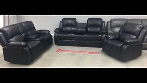 New3PieceBlackRecliningConsoleLoveseat, drop table sofa,recliner
