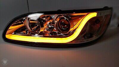 ::Pair Chrome Projection Headlights w/ Dual Function LED Light Bar for Peterbilt