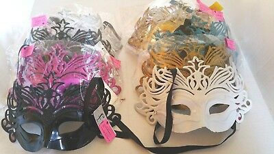 Large Cut Out Mardi Gras Costume Mask in Gold Silver White Black Turq and Hot PK - Mardi Gras Mask Cutout