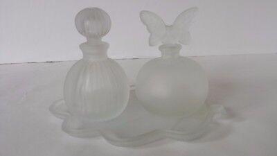Frosted Glass Vanity Set Perfume Bottle Dresser Set