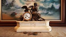 . ANTIQUE FRENCH EMPIRE WHITE MARBLE & BRONZE   MANTLE CLOCK . WOMAN WITH BIRD.