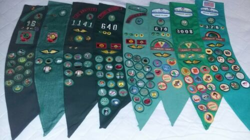 Vintage Girl Scout Lot of 8 Sashes/1940s- 2000s/Badges/Patches/Pins-Great Lot!