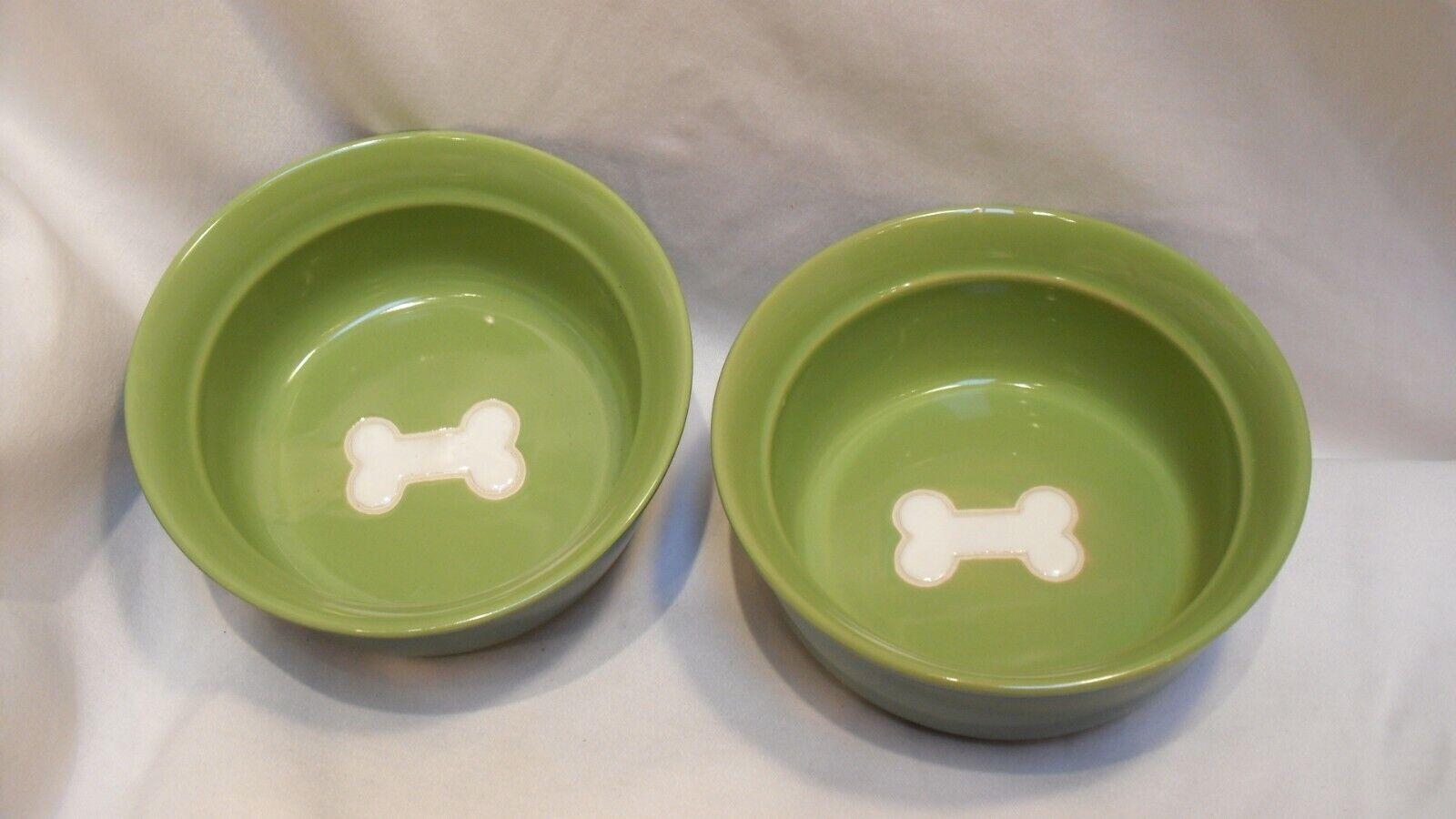 2 Tienshan Ceramic Dog Food Bowls Green with White Bone Design 6