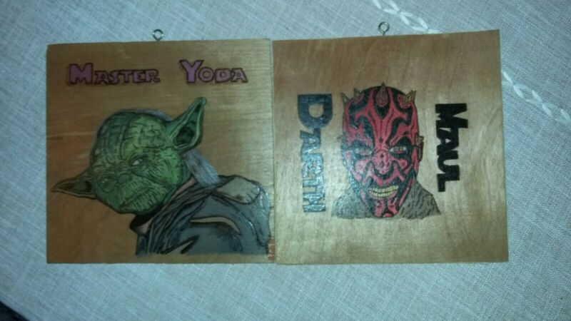Yoda And Darth Maul Burned Into Wood Pictures One Of A Kind