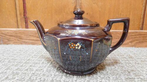 "Redware Teapot Japan Brown Betty Ceramic Painted Gold Trim 5"" x 7"""