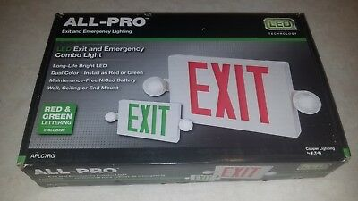 All-pro Redgreen Led Hardwired Lighted Exit And Emergency Light Combo Exit Sign