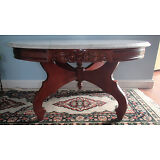 Vintage Victorian Mahogany Wood Oval Coffee Table With White, Grey Marbled Top