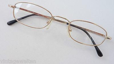 Preiswerte Brillenfassung gold Lesebrille ohne Glas flache Form occhiali Gr.M