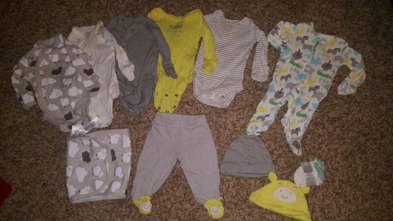 carters unisex newborn baby boy girl 12pc lot one piece bodysuits pant hats sets