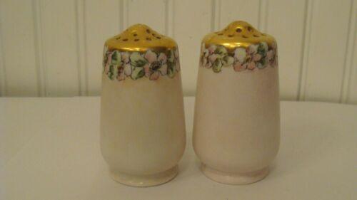 Vintage Royal Bavaria Pink Floral& Gold Tone  Salt & Pepper Shakers