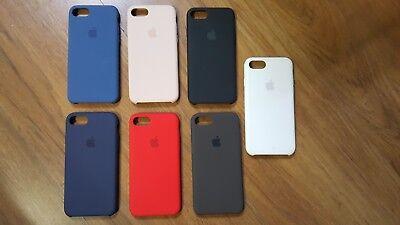 Iphone White Silicone Case (ORIGINAL APPLE SILICONE CASE IPHONE 7 IPHONE 8 RED WHITE COCOA BLACK BLUE PINK )