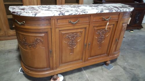 Antique Sideboard French Louis XVI Marble Top Buffet W/ Curved Sides