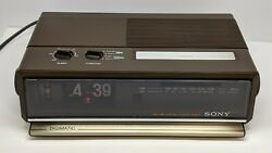 Rare Sony DigiMatic Flip Clock New Orange Neon Glow Bulb Alarm Eames Modern