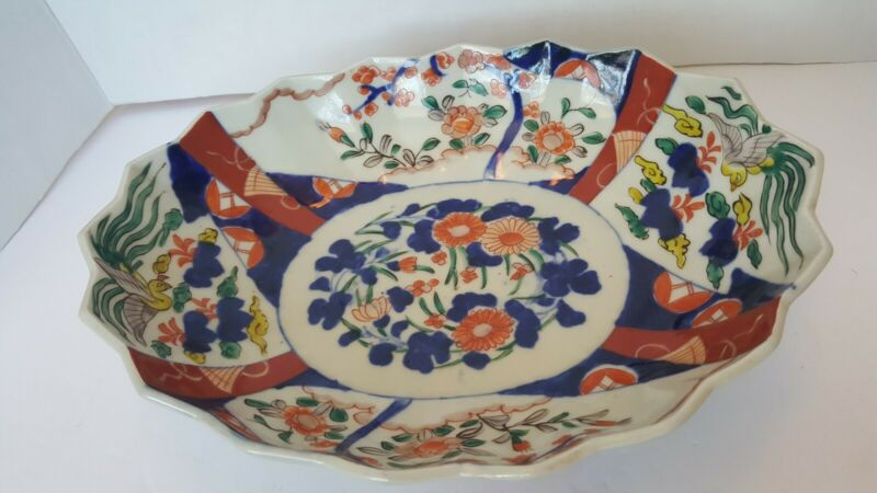 Beautiful Antique Asian Japanese Artist Signed Imari Large Oval Serving  Bowl