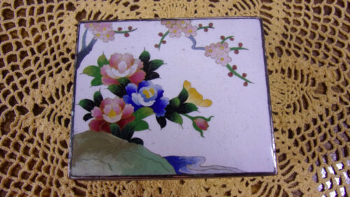 Cloisonne Box Inaba Japanese Enamel Vintage 1940s Silver Etched Inside Trinket