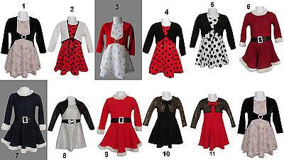 Weihnachten Kleid Mädchen (Winter Mädchen Fest Weihnachten Silvester Kleid Festkleid Party 92-164 )