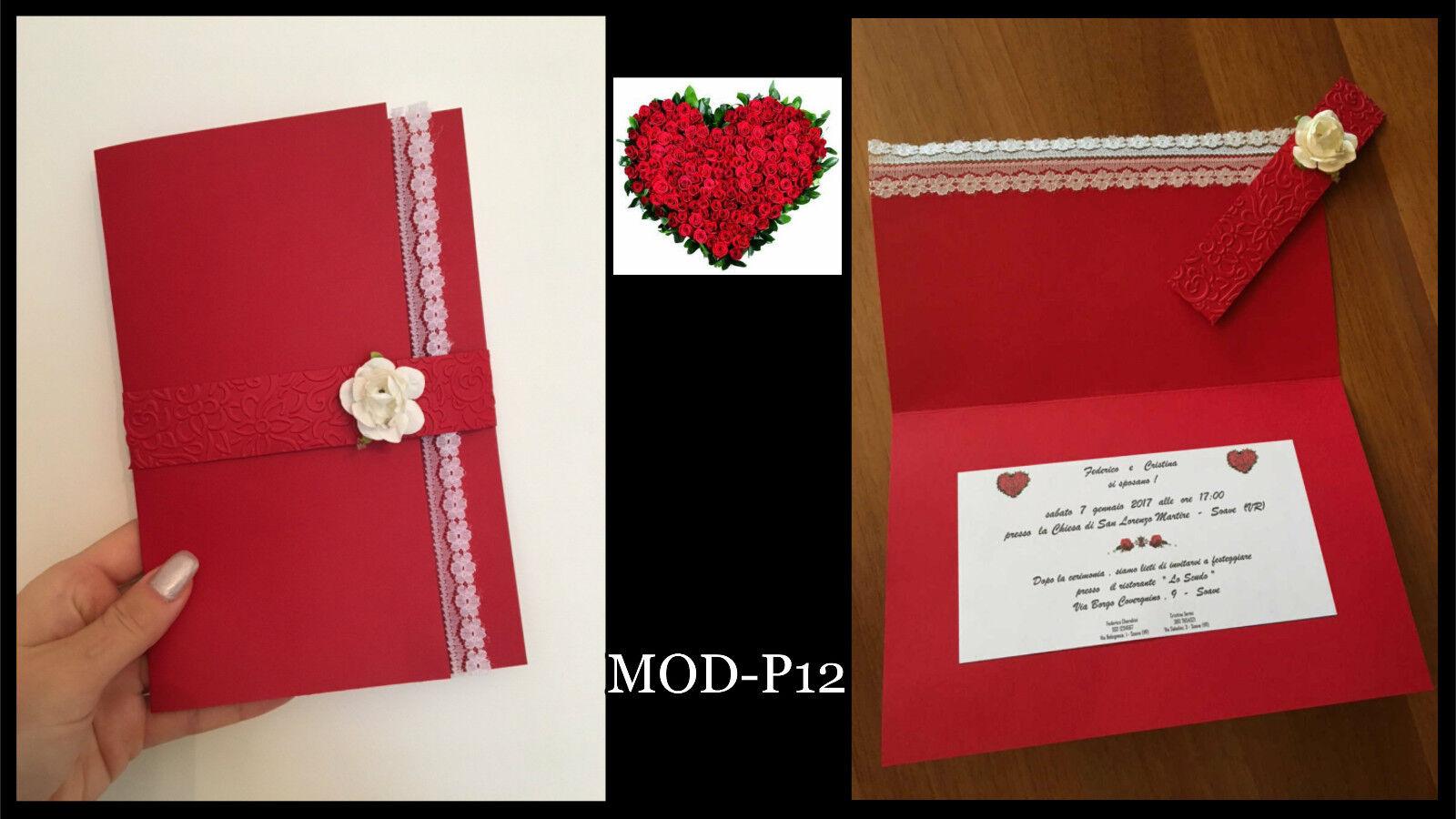 Partecipazioni Matrimonio inviti Nozze fatte a mano MOD-P12 eleganti rosso pizzo