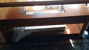 Oak Mission Style Coffee Table And Matching Sofa Table