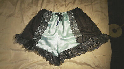 VINTAGE STYLE SHEER TWO-TONE BLACK & AQUA FRENCH KNICKERS PANTIES XL =