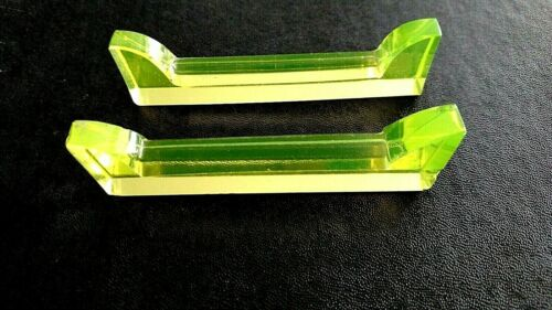 2 Scarce & Old Vaseline Cut Glass Knife Rests Solid Clear Faceted Beautiful!!