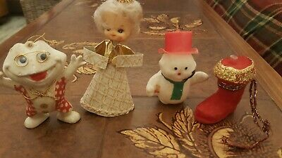 Vintage xmas tree Christmas Baubles Decorations kitsch flocked frog santa angel