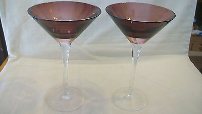 PAIR OF PURPLE AND CLEAR MARTINI GLASSES WITH SWIRLED - Purple Martini Glasses