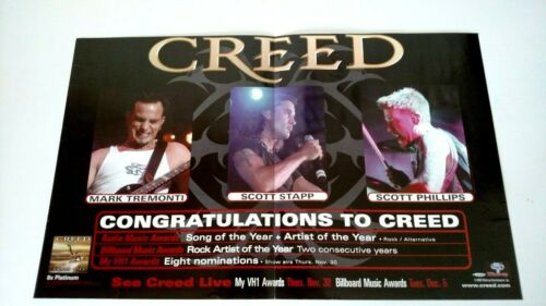 """CREED """"SONG OF THE YEAR"""" CONGRATULATIONS LARGE RARE ORIGINAL PRINT PROMO POSTER"""