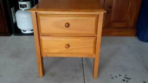 Pine bedside cabinet with 2 draws