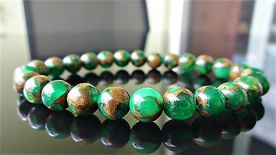 "Genuine Green Goldstone Jade Bead Bracelet for Men (Stretch) 8mm - 8"" inch AAA"